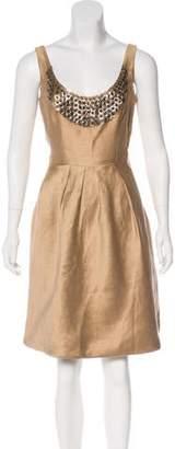 Lela Rose Sodalite-Embellished Sleeveless Dress