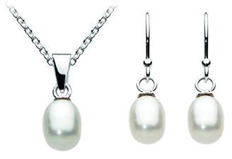Dew Sterling Silver and Pearl Twist Wedding Necklace and Drop Earring Set, AMA07