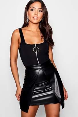 boohoo Trudy Leather Look Split Layer Mini Skirt