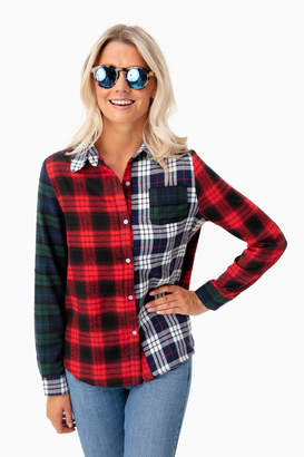 After Market Mixed Plaid Button Down