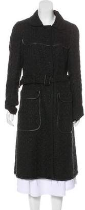 Prada Leather-Trimmed Knit Coat