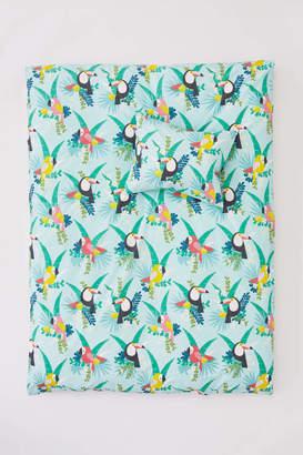 H&M Patterned Duvet Cover Set - Light turquoise/jungle
