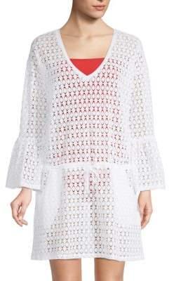 Calvin Klein Bell-Sleeve Crochet Cover-Up