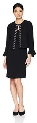 Tahari by Arthur S. Levine Women's Petite Jacket Dress Set with Beaded Trim