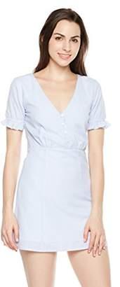 Plumberry Women's Strip V-Neck Short Sleeve High Waist Button Down Summer Casual Office Kneeth Length Midi Dress ...
