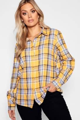 boohoo Plus Checked Oversized Shirt