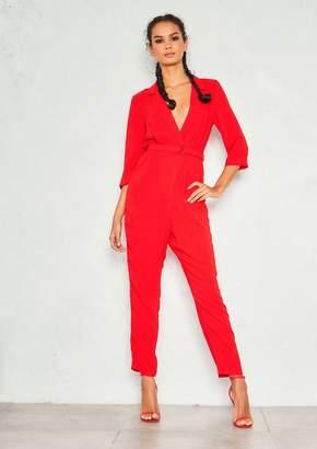 cbbcacc53ea4 Missy Empire Missyempire Mylene Red Plunge Neck Belted Jumpsuit