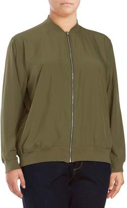 Vince Camuto Women's Soft Bomber Jacket - Green, Size 2x (18-20)
