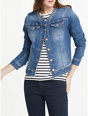 Oui Studded Denim Jacket, Dark Blue Denim