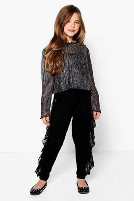 boohoo Girls Lace Ruffle Wide Leg Trouser