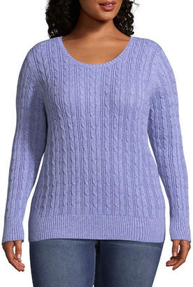 ST. JOHN'S BAY Cable Crew Neck Sweater - Plus