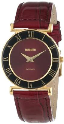 Jowissa Women's J2.043.M Roma 30 mm PVD Maroon Dial Roman Numeral Leather Watch