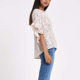 River Island Petite pink sequin frill sleeve top