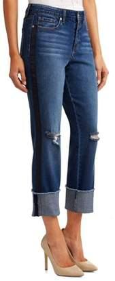 Sofia Jeans by Sofia Vergara Veronica Distressed Side Stripe Cuffed Straight Leg High Waist Jean Women's (Dark Indigo Wash)