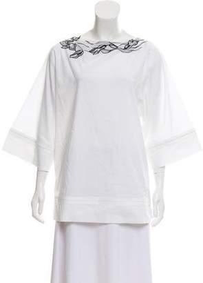 Blumarine Embroidered Short Sleeve Top