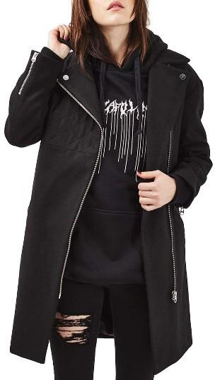 TopshopWomen's Topshop Asymmetrical Biker Coat