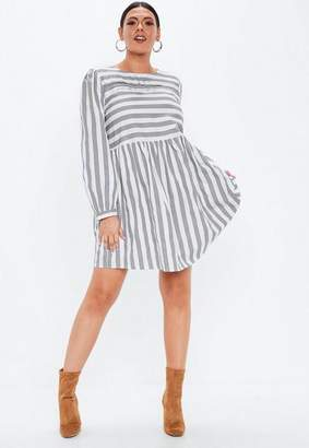 Missguided Size Grey Stripe Long Sleeve Skater Dress