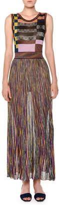 Missoni Sleeveless Multicolor Pleated Knit Maxi Dress