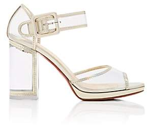 Christian Louboutin Women's Barbaclara Specchio Leather & PVC Platform Sandals - Platine, Transp