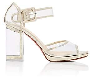 Christian Louboutin Women's Barbaclara Specchio Leather & PVC Platform Sandals-Platine, Transp