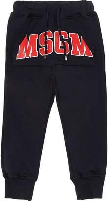 MSGM Logo Printed Cotton Sweatpants