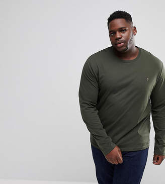 Farah PLUS Farris Slim Fit Long Sleeve T-Shirt in Green