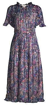 Rebecca Taylor Women's Ruffle Trim Printed Midi Dress - Size 0