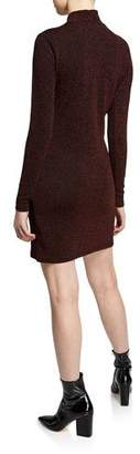 Rebecca Minkoff Phoebe High-Neck Metallic Sweater Dress
