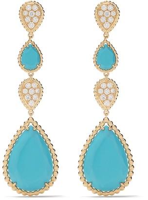 Boucheron 18kt yellow gold Serpent Bohème diamond and turquoise pendant earrings