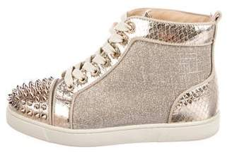 Christian Louboutin Snakeskin Lou Spiked Sneakers