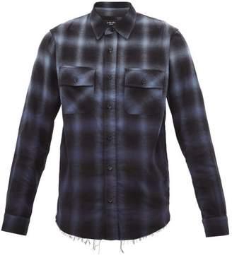 Amiri Raw Hem Checked Cotton Blend Flannel Shirt - Mens - Blue