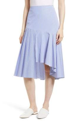 Nordstrom Signature Asymmetrical Stripe Cotton Skirt