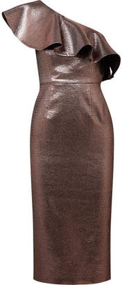 Rachel Zoe Tabitha Ruffled One-shoulder Metallic Jacquard Midi Dress - Copper