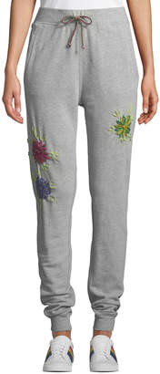 Neiman Marcus Etienne Marcel Floral-Embroidered Drawstring Jogger Sweatpants