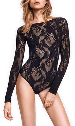 Wolford Louise Long-Sleeve Lace Bodysuit