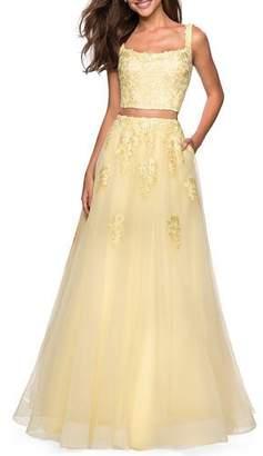 La Femme 2-Piece Tulle & Lace A-Line Gown Set