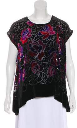 Anna Sui Abstract Cap Sleeve Blouse