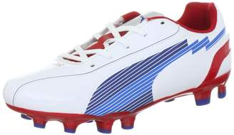 Puma Evo Speed 5 FG Jr Junior Kids Boys Cam Football Shoes Boots White/Red, Sizes: