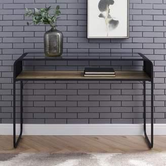 Manor Park Industrial Console Table, Glass Top, Wood Shelf - Rustic Oak