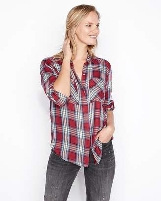 Express Oversized Red Plaid Two Pocket Shirt
