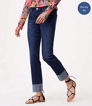 LOFT Tall Curvy Cuffed Straight Leg Jeans in Pure Dark Indigo Wash