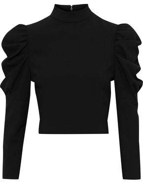Alice + Olivia Brenna Cropped Gathered Crepe Top