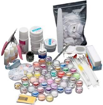 Anboo 27 in 1 Acrylic Nail Art Kit Tips Powder Liquid Brush Glitter Powder Set
