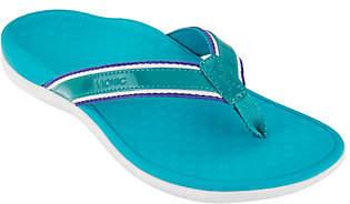 Vionic Orthotic Stripe Leather Thong Sandal -Tide Sport