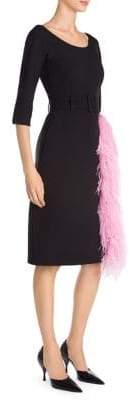 Prada Feather-Trimmed Scoopneck Cady Dress