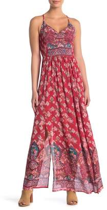 Angie Sleeveless Print Smocked Maxi Dress
