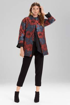 Josie Natori Novelty Jacquard Seamed Topper With Cutwork Embroidery