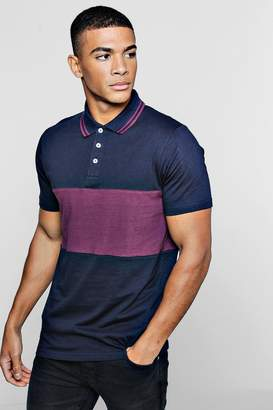 boohoo Short Sleeve Colour Block Polo With Tipping