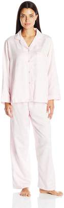 Miss Elaine Women's Brushed Back Satin Pj Set