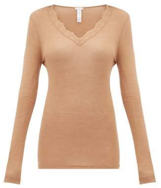 Hanro Woolen Lace Long Sleeved Top - Womens - Brown